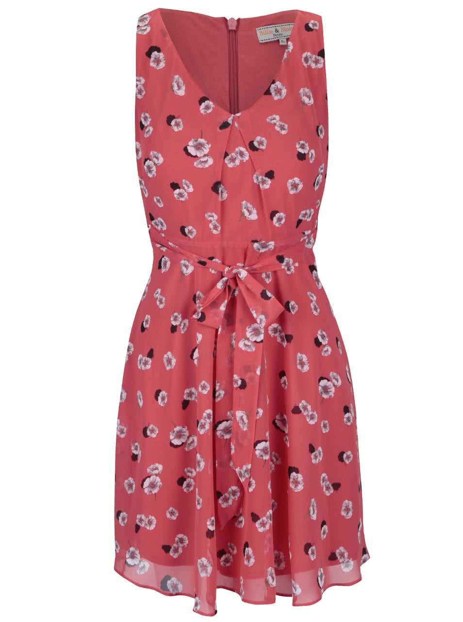 Červené květinové šaty s mašlí v pase Dorothy Perkins Petite