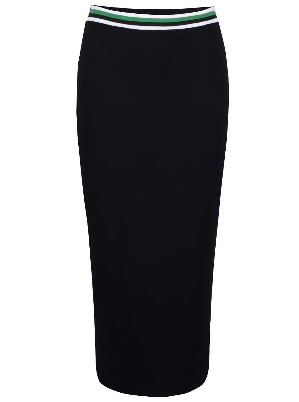 Černá dlouhá sukně s bílo-zelenou gumou Dorothy Perkins