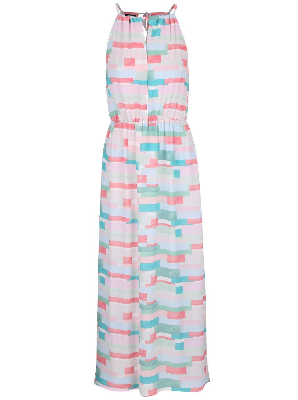 Zeleno-růžové vzorované maxi šaty Alchymi