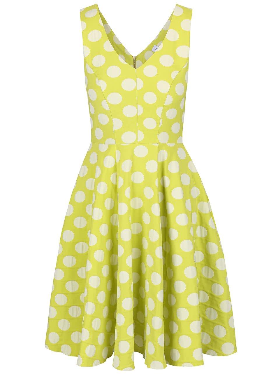 Světle zelené šaty s krémovými puntíky Closet