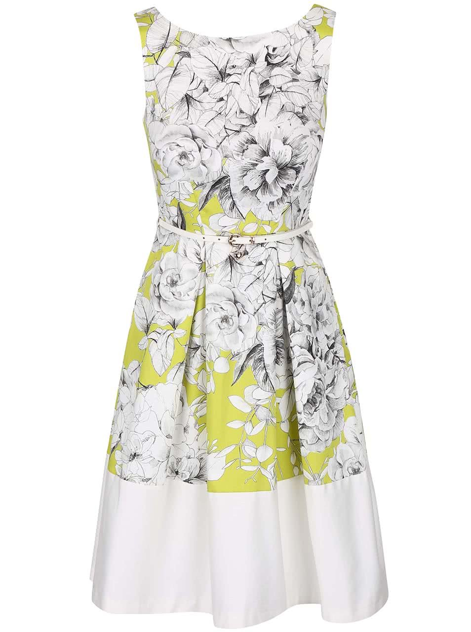 Krémovo-zelené šaty s květy a páskem Closet