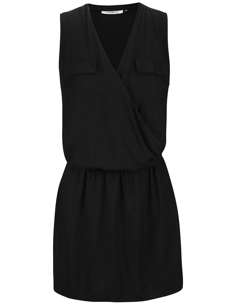 Černé překládané šaty bez rukávů ONLY Kant