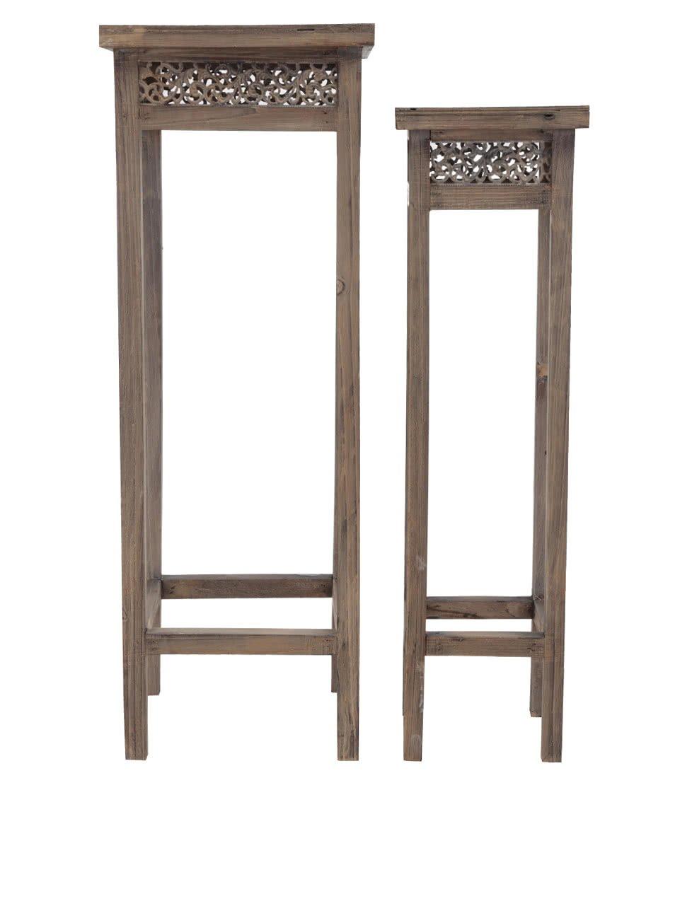 Dva hnědé dřevěné stojany na květiny Dakls
