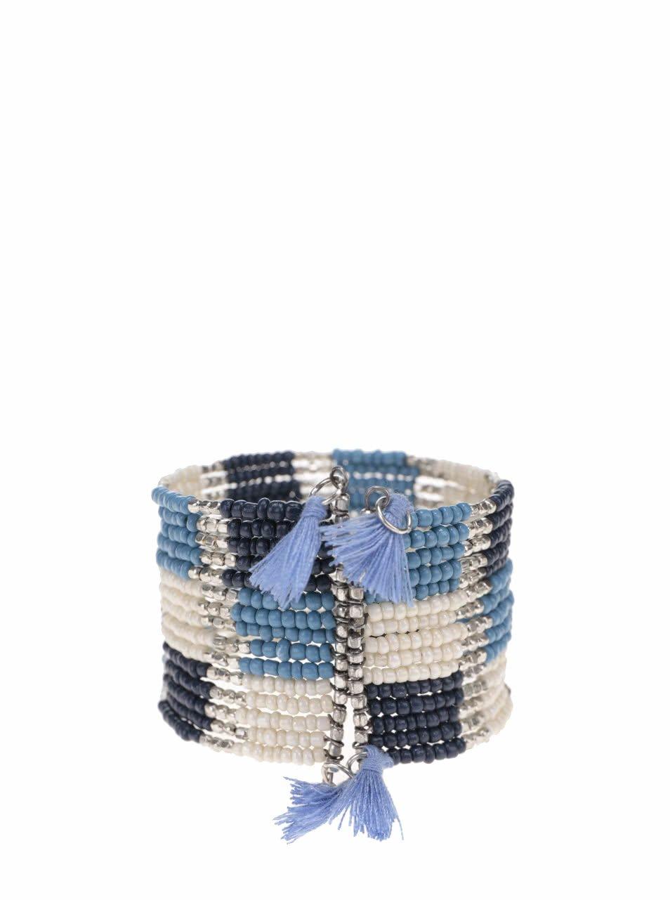 Bílo-modrý korálkový náramek s detaily ve stříbrné barvě Pieces Pilina