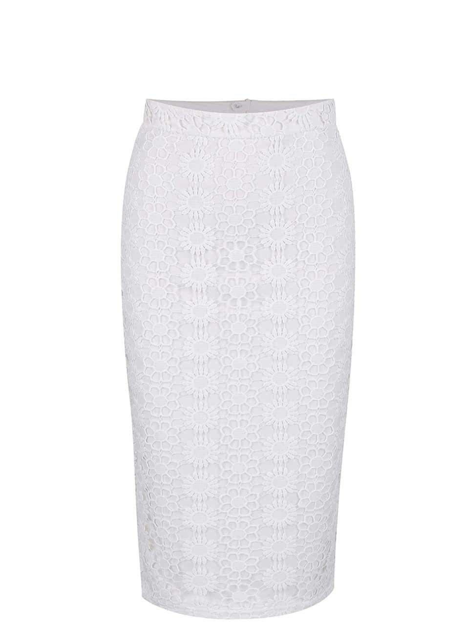 Bílá pouzdrová sukně s vyšším pasem Dorothy Perkins