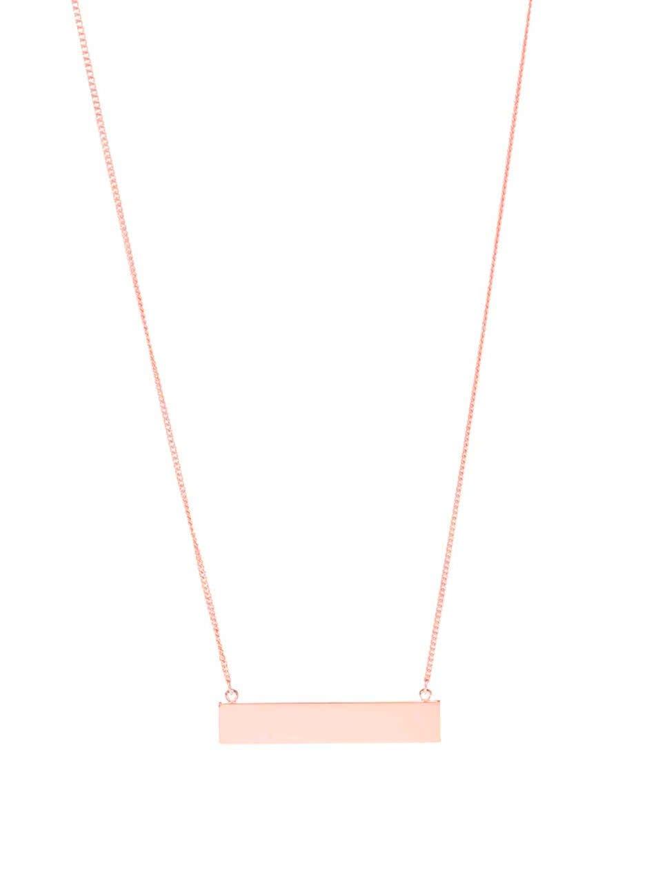 Dlouhý náhrdelník v růžovozlaté barvě s obdélníkovým přívěskem Pieces Perula