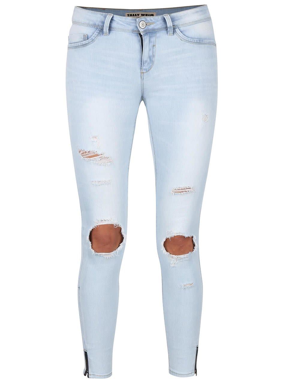 e3ad2056c13 Světle modré skinny džíny s roztrhaným efektem TALLY WEiJL
