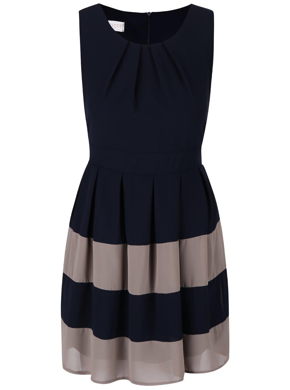 Tmavě modré šaty s hnědými pruhy Apricot