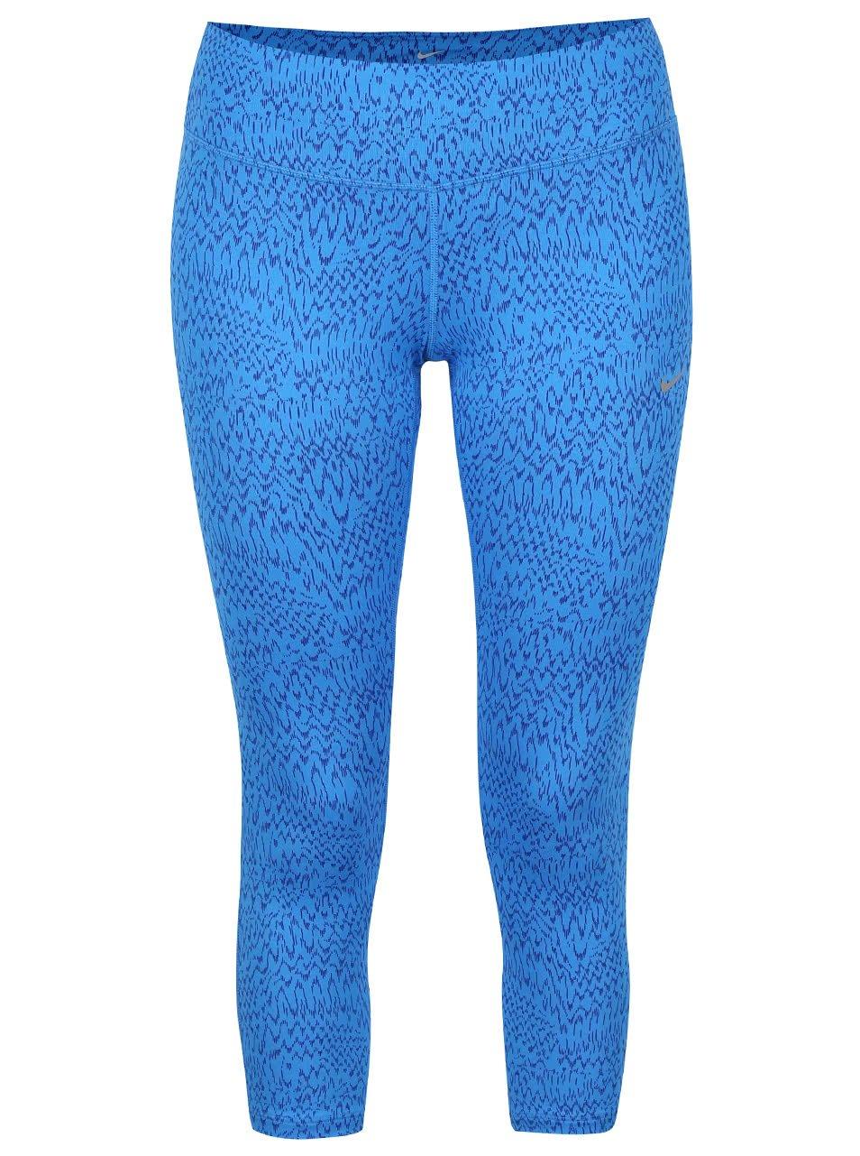 Modré dámské 3/4 vzorované legíny Nike Power Epic Run