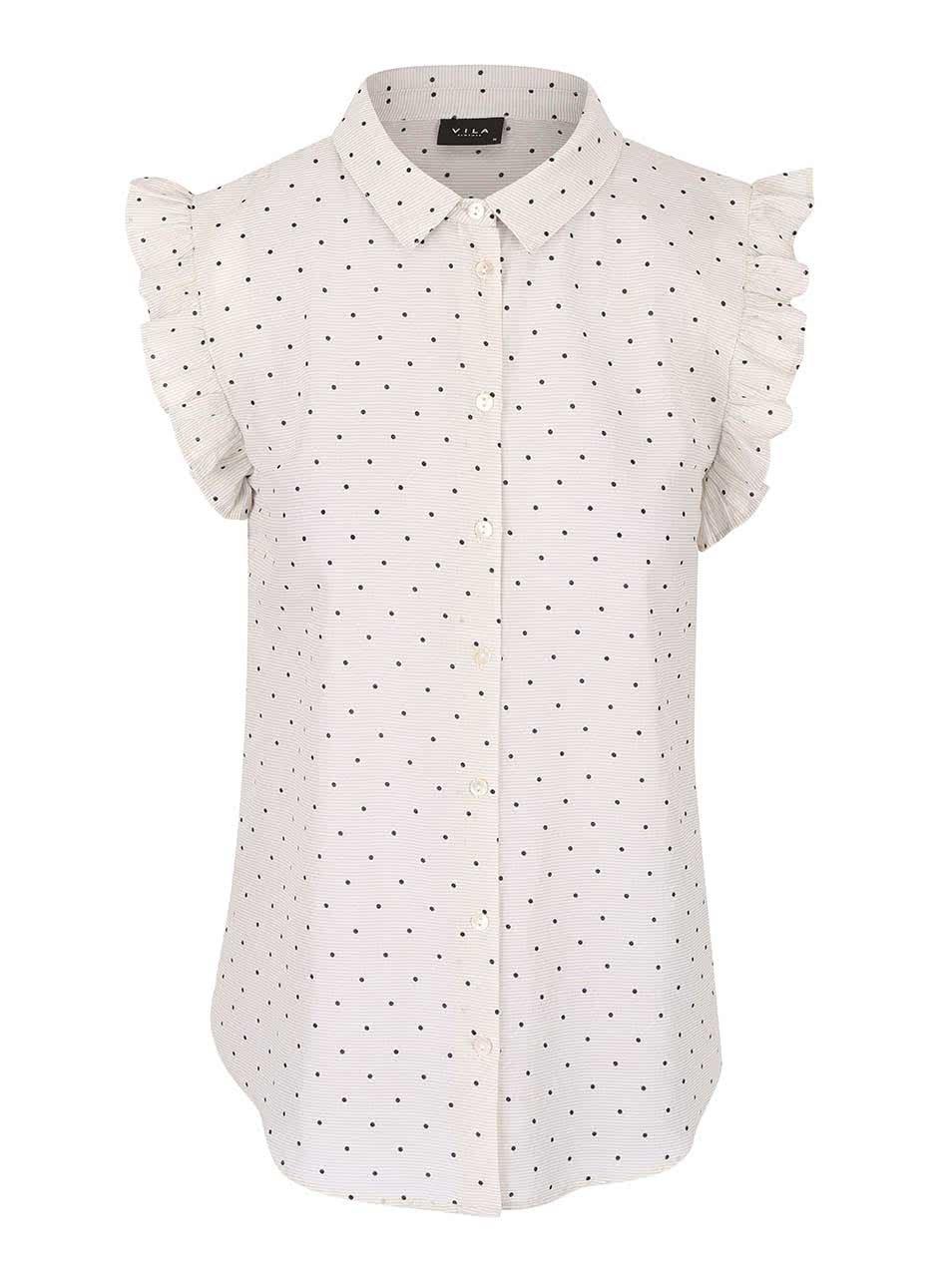 Krémová puntíkovaná košile s volány VILA Dotta