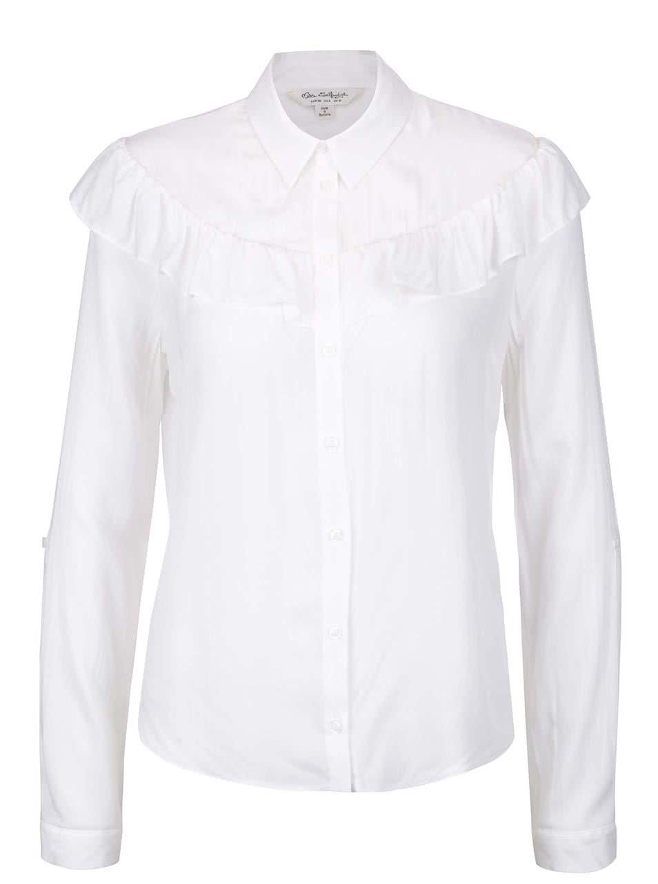 Bílá košile s volánkem Miss Selfridge