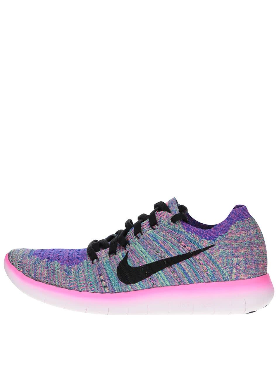 Růžovo-fialové žíhané dámské tenisky Nike Free Flyknit