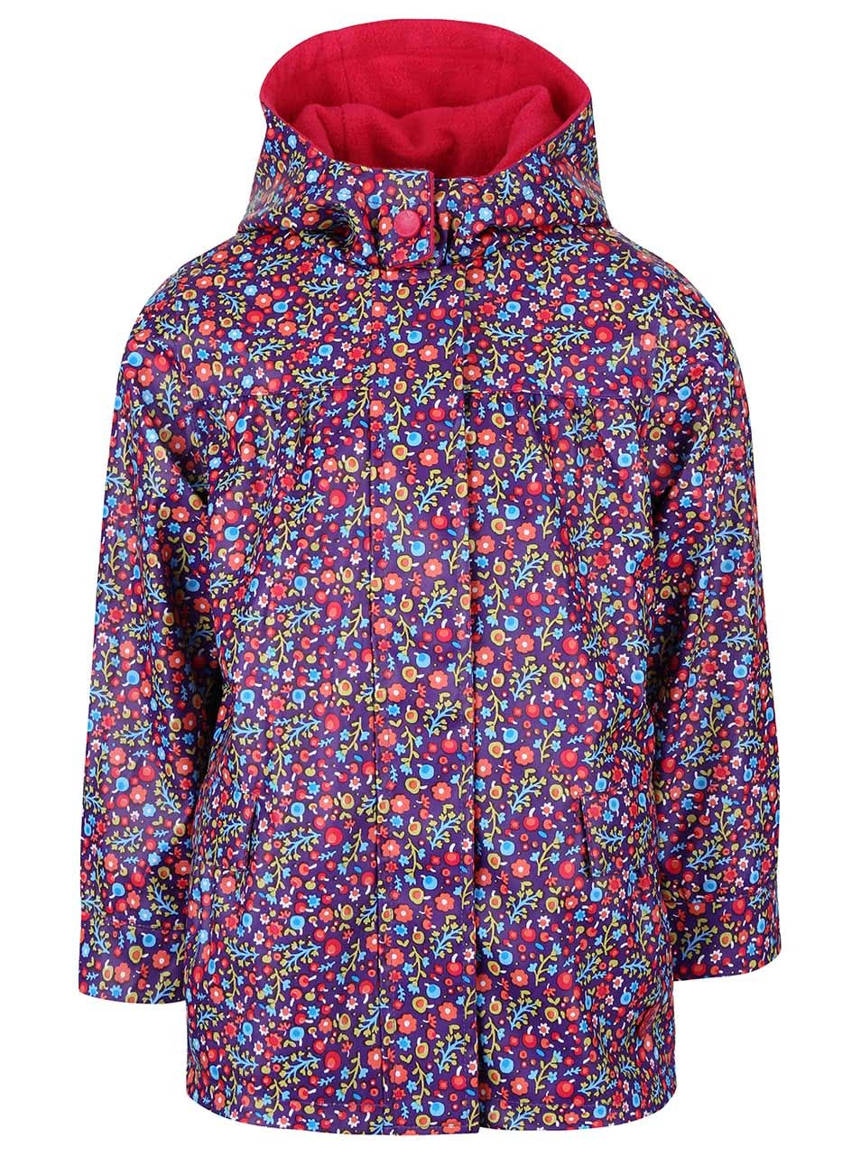 Fialová holčičí nepromokavá bunda s květinovým vzorem Bóboli