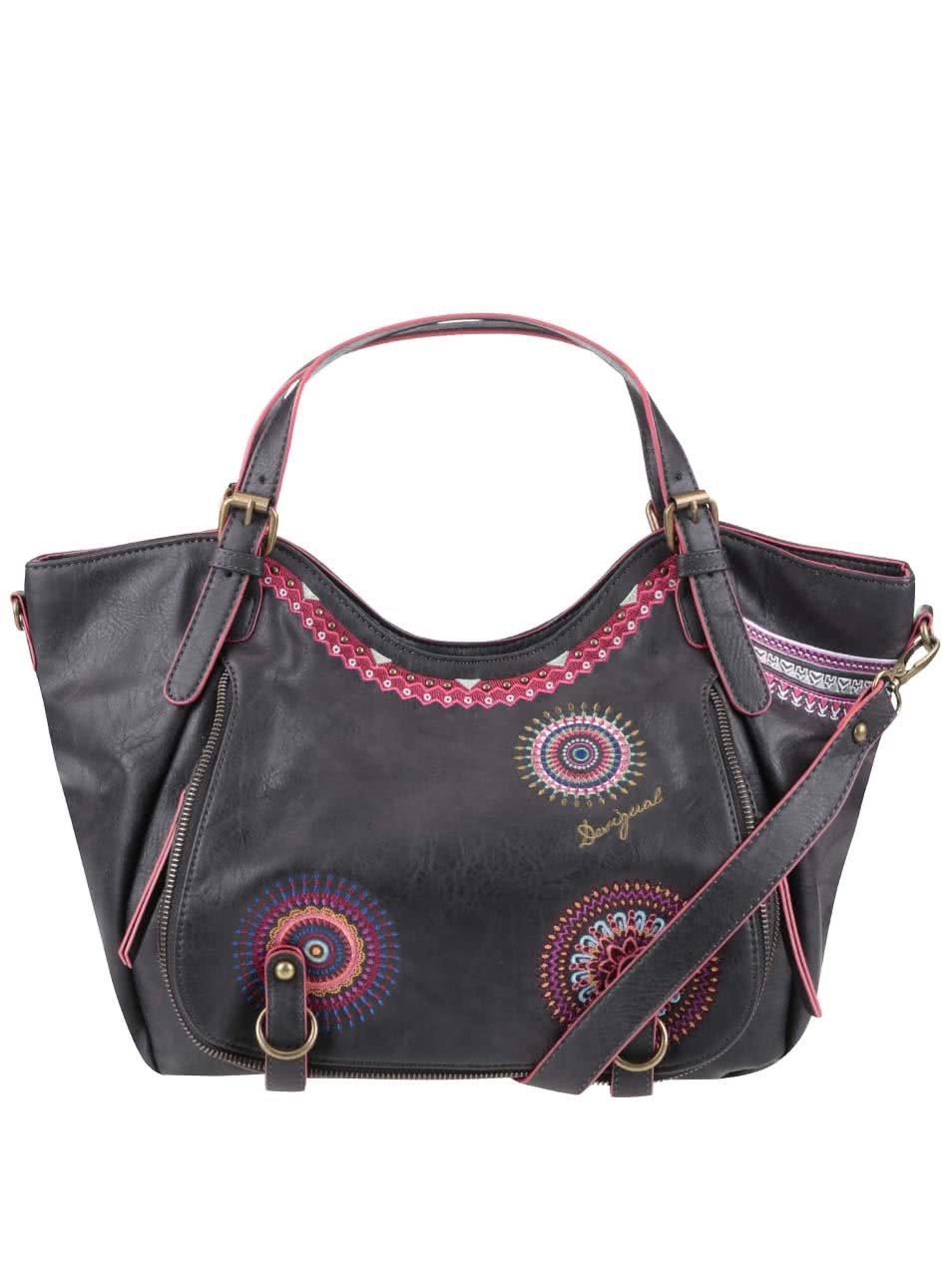 Tmavě hnědá kabelka s růžovými vzory Desigual Rotterdam Greta