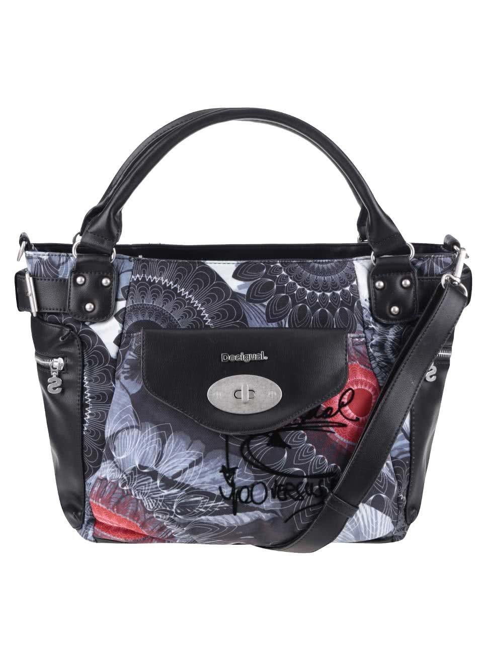 Černá kabelka s šedými vzory Desigual McBee Same