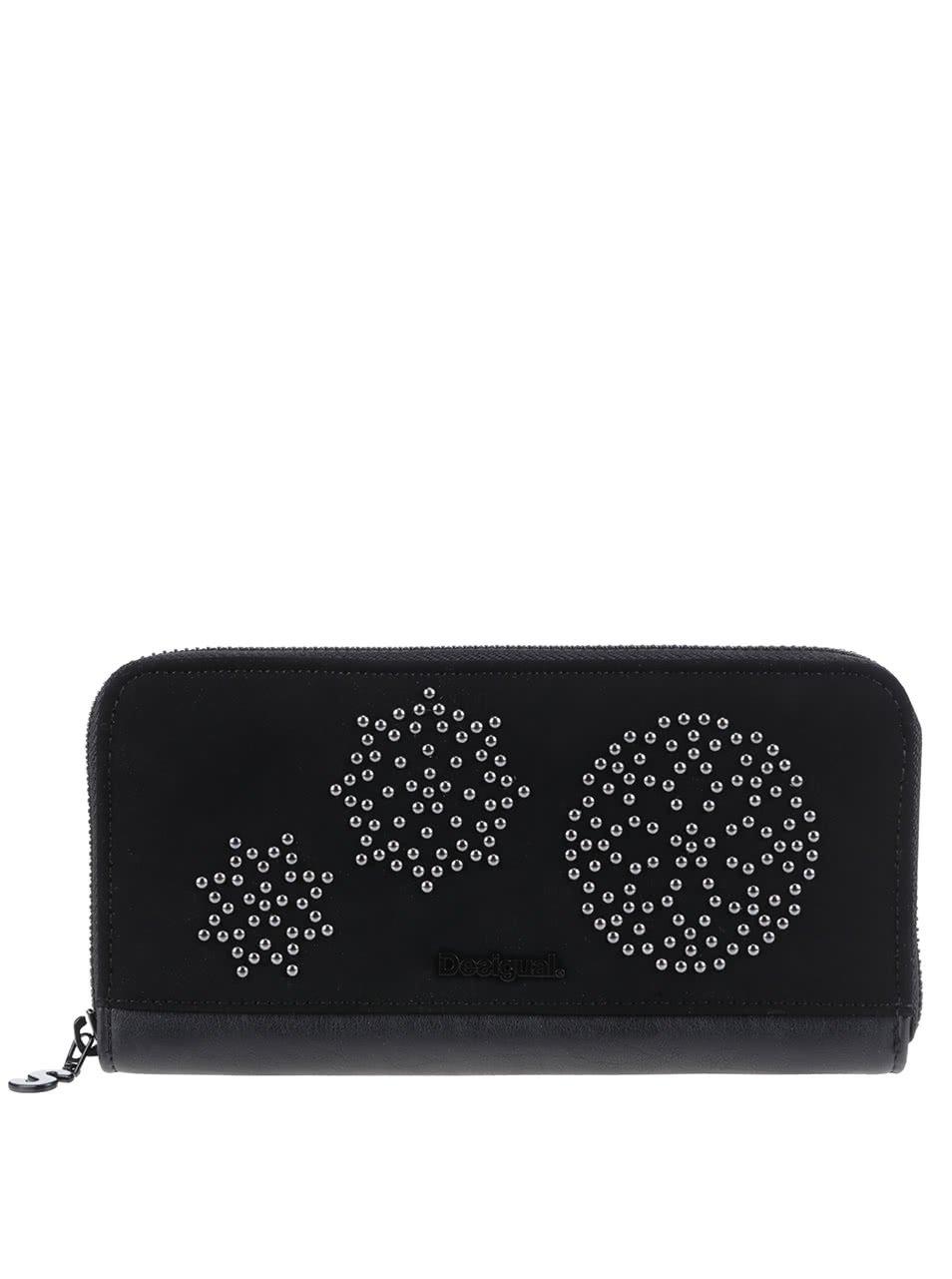 Černá matná peněženka s detaily ve stříbrné barvě Desigual New Blond