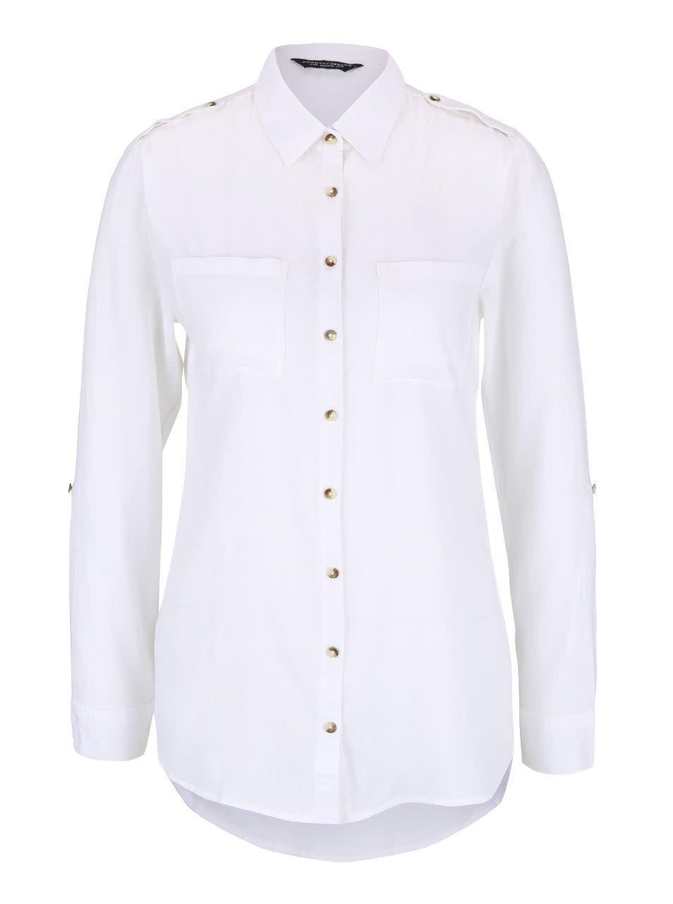 Bílá košile s vyhrnovacími rukávy Dorothy Perkins