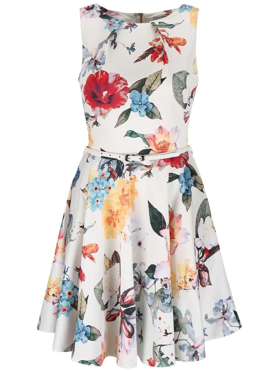 Bílé květované šaty s páskem Closet