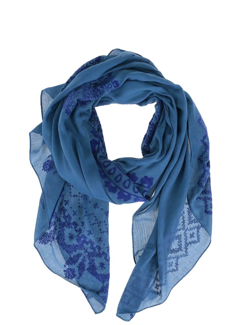 Modrý vzorovaný šátek Desigual Wool