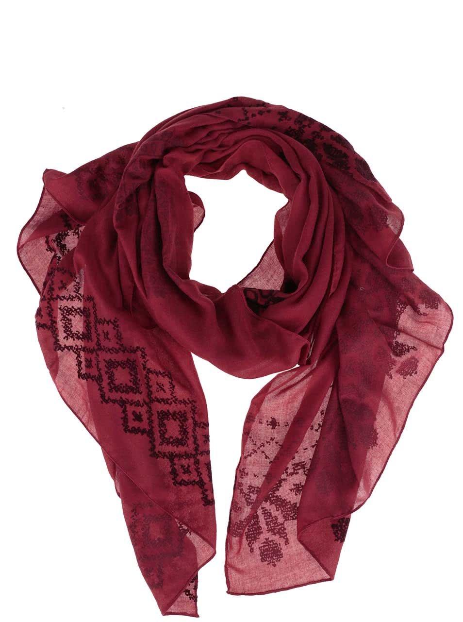 Červený vzorovaný šátek Desigual Wool