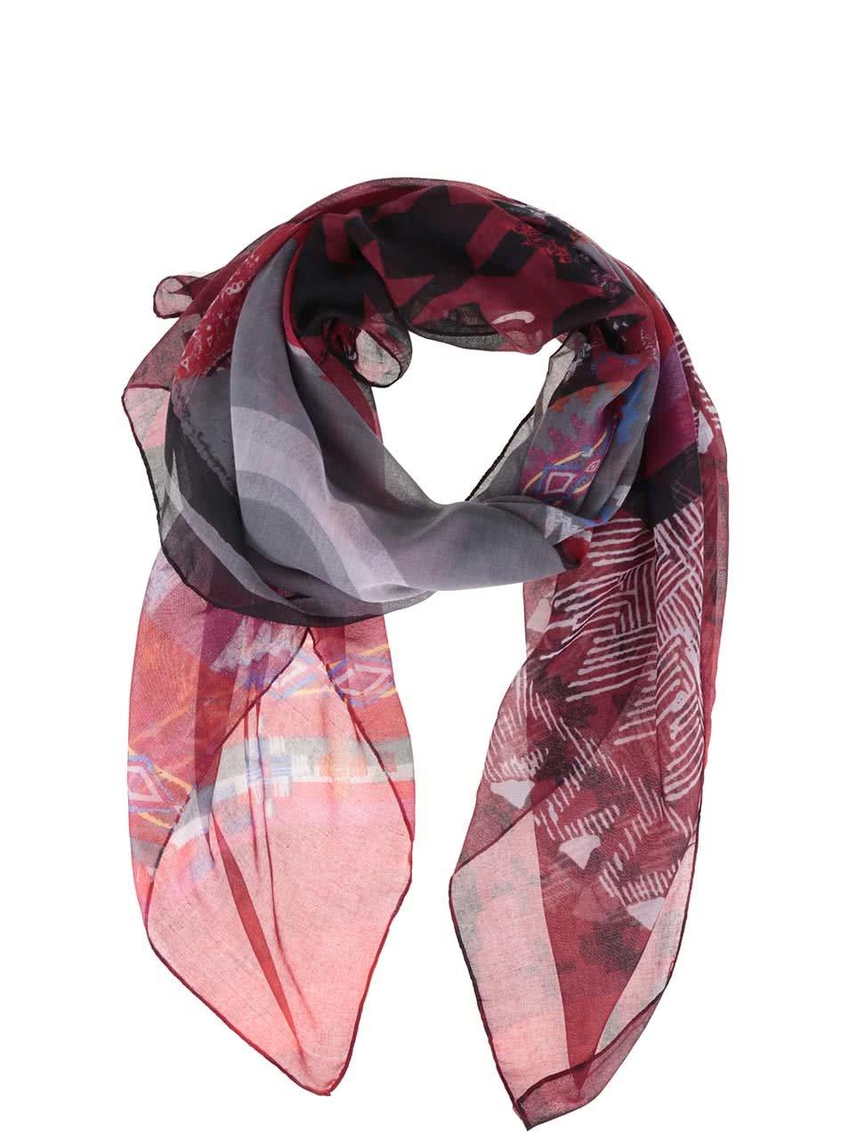 Šedo-červený vzorovaný šátek Desigual Scotland