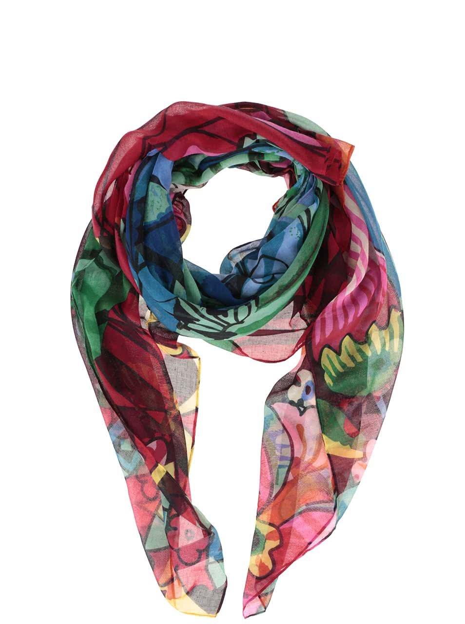 Modro-červený vzorovaný šátek Desigual Ikara