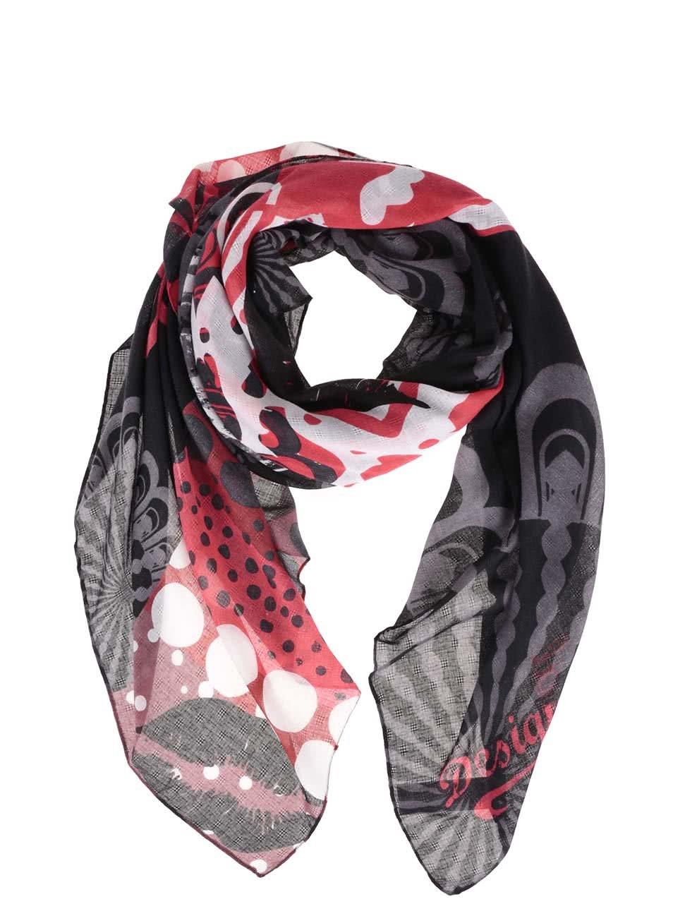 Červeno-šedý vzorovaný šátek Desigual Kisses
