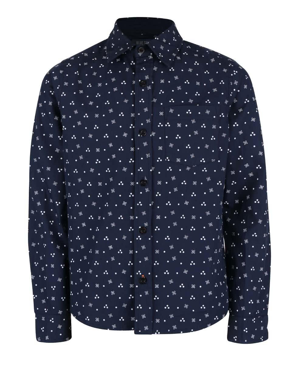 Tmavě modrá klučičí vzorovaná košile Blue Seven