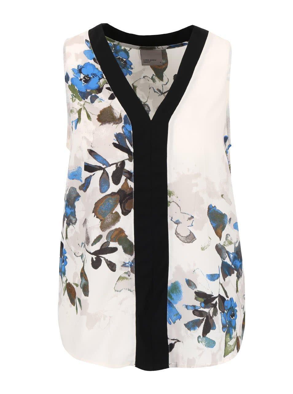 Krémovo-modrá květovaná halenka bez rukávů Vero Moda Wanda