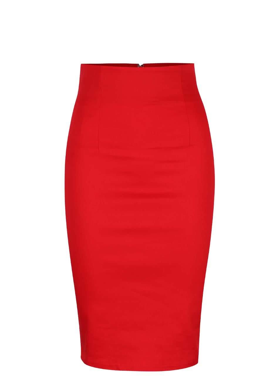 Červená sukně s vyšším pasem Dolly & Dotty Falda