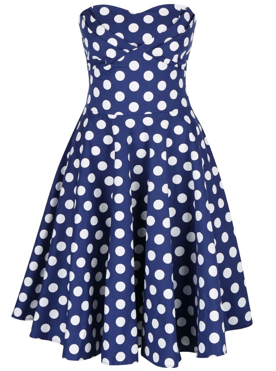 Modré puntíkované šaty bez ramínek Dolly & Dotty Melissa