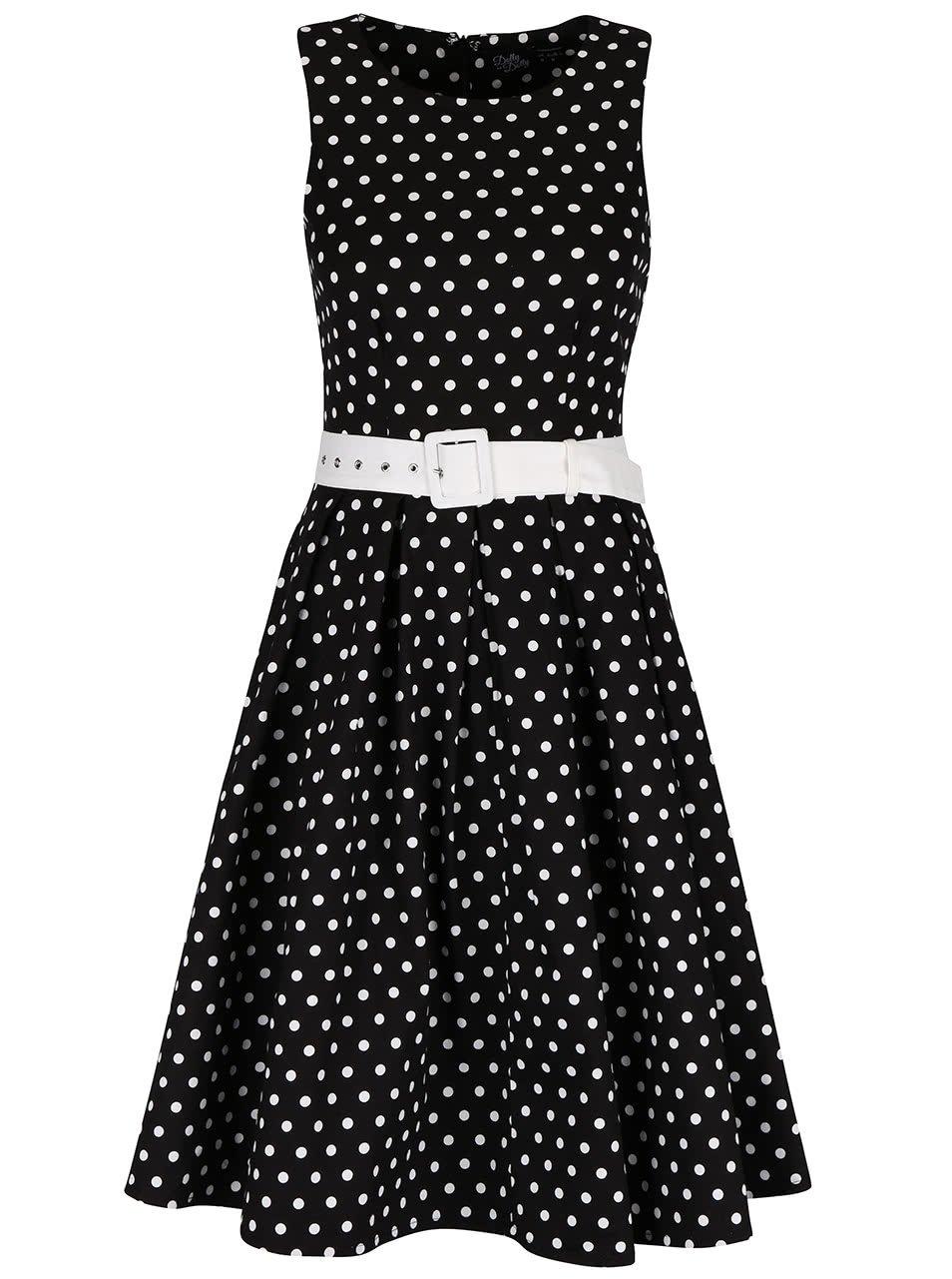 Černé šaty s puntíky Dolly & Dotty Lola