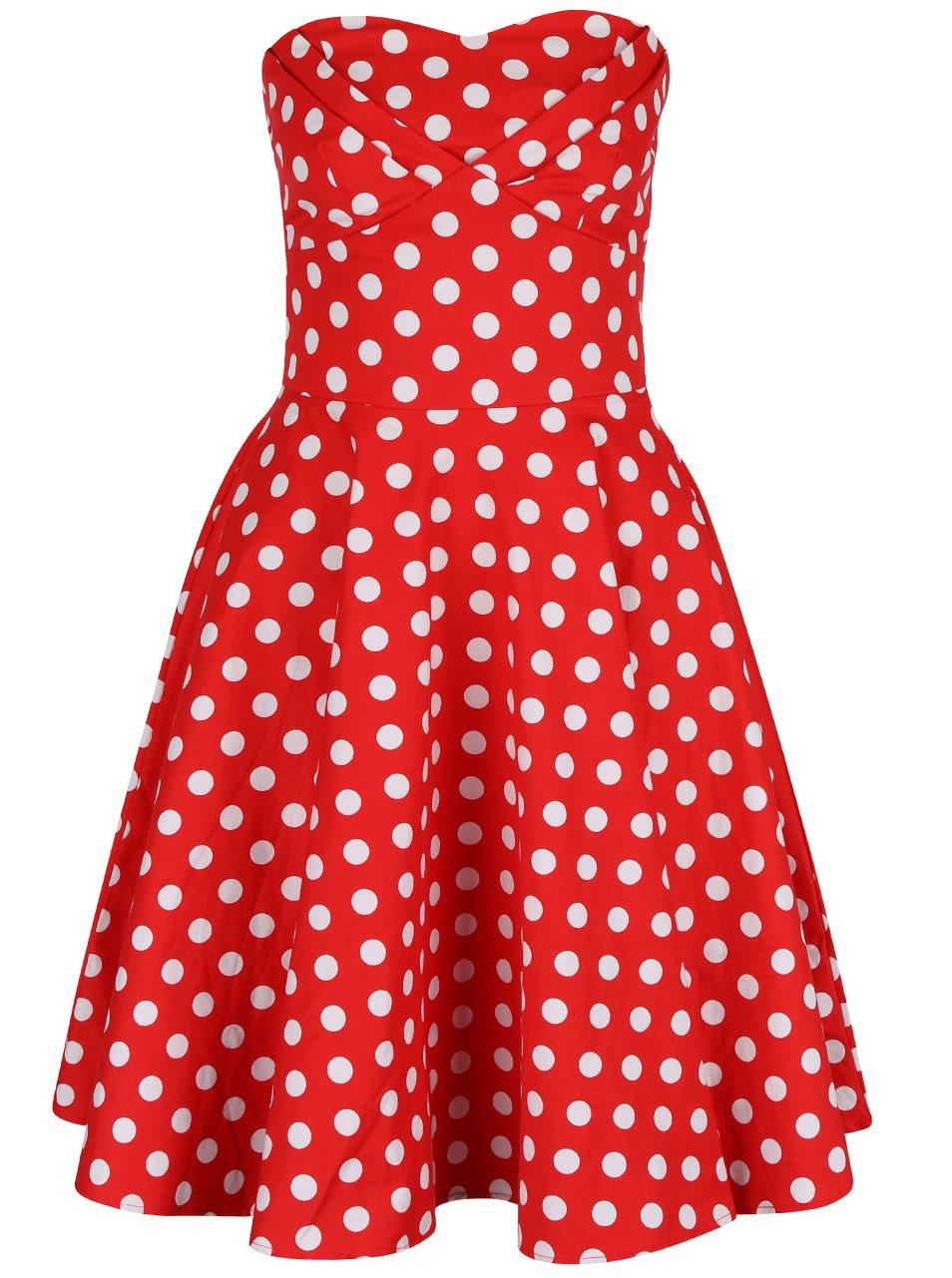 Červené puntíkované šaty bez ramínek Dolly & Dotty Melissa