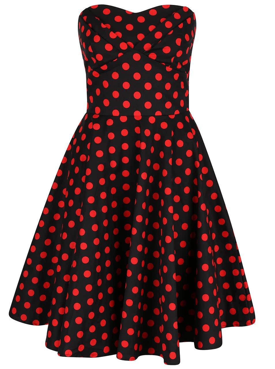 Černé puntíkované šaty bez ramínek Dolly & Dotty Melissa