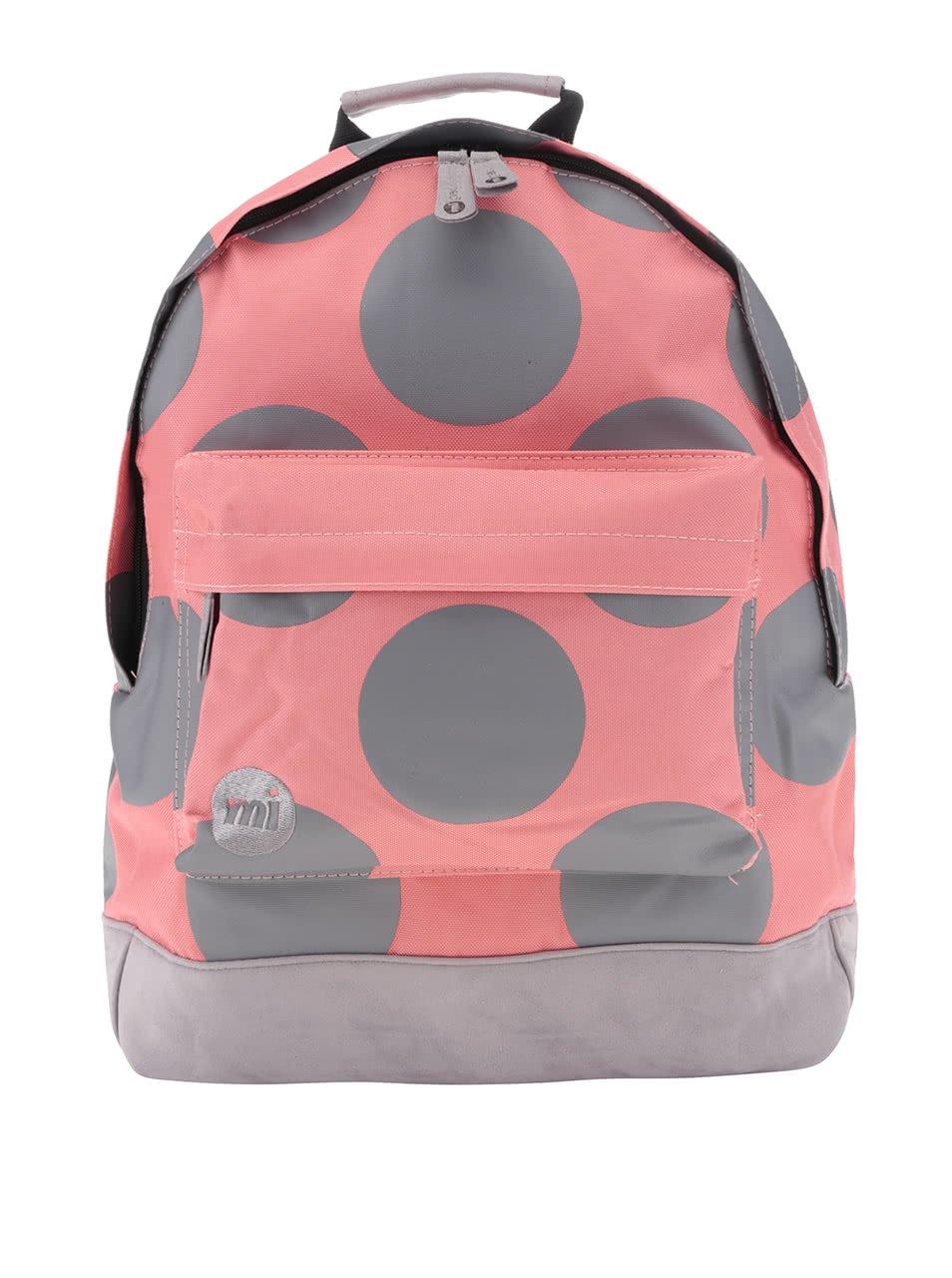Šedo-růžový dámský batoh s puntíky Mi-Pac All Polka XL