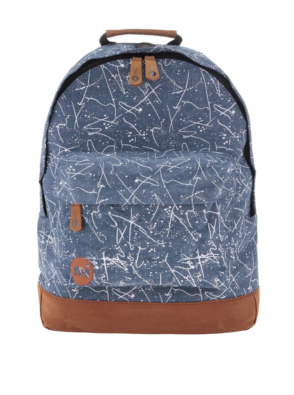 Hnědo-modrý batoh s bílým vzorem Mi-Pac Denim Squiggle 17 l