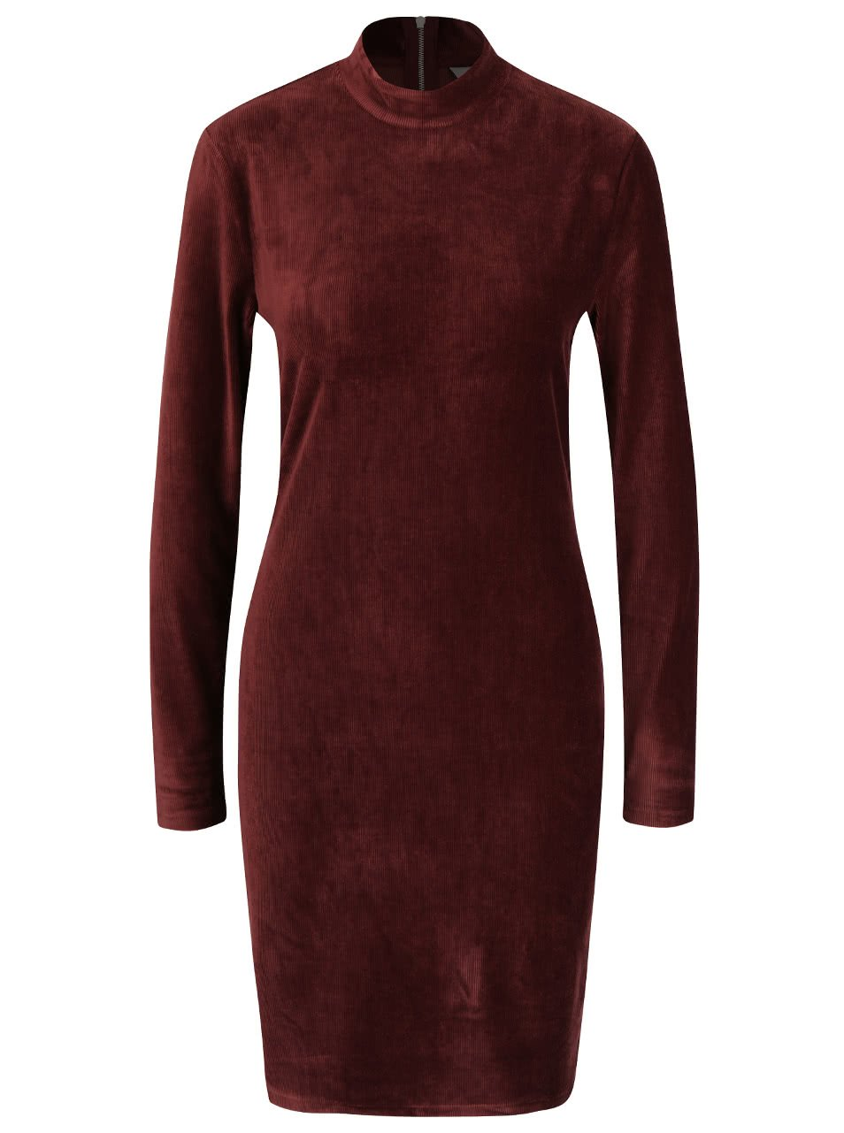 Hnědé sametové šaty ke krku s dlouhým rukávem Vero Moda Corduroy