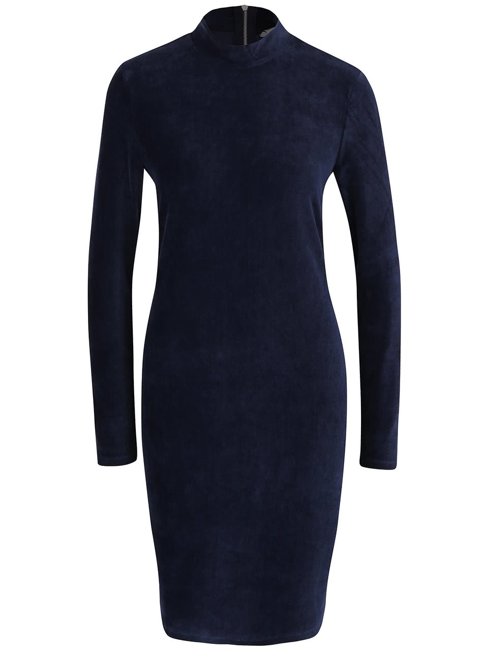 Tmavě modré sametové šaty ke krku s dlouhým rukávem Vero Moda Corduroy