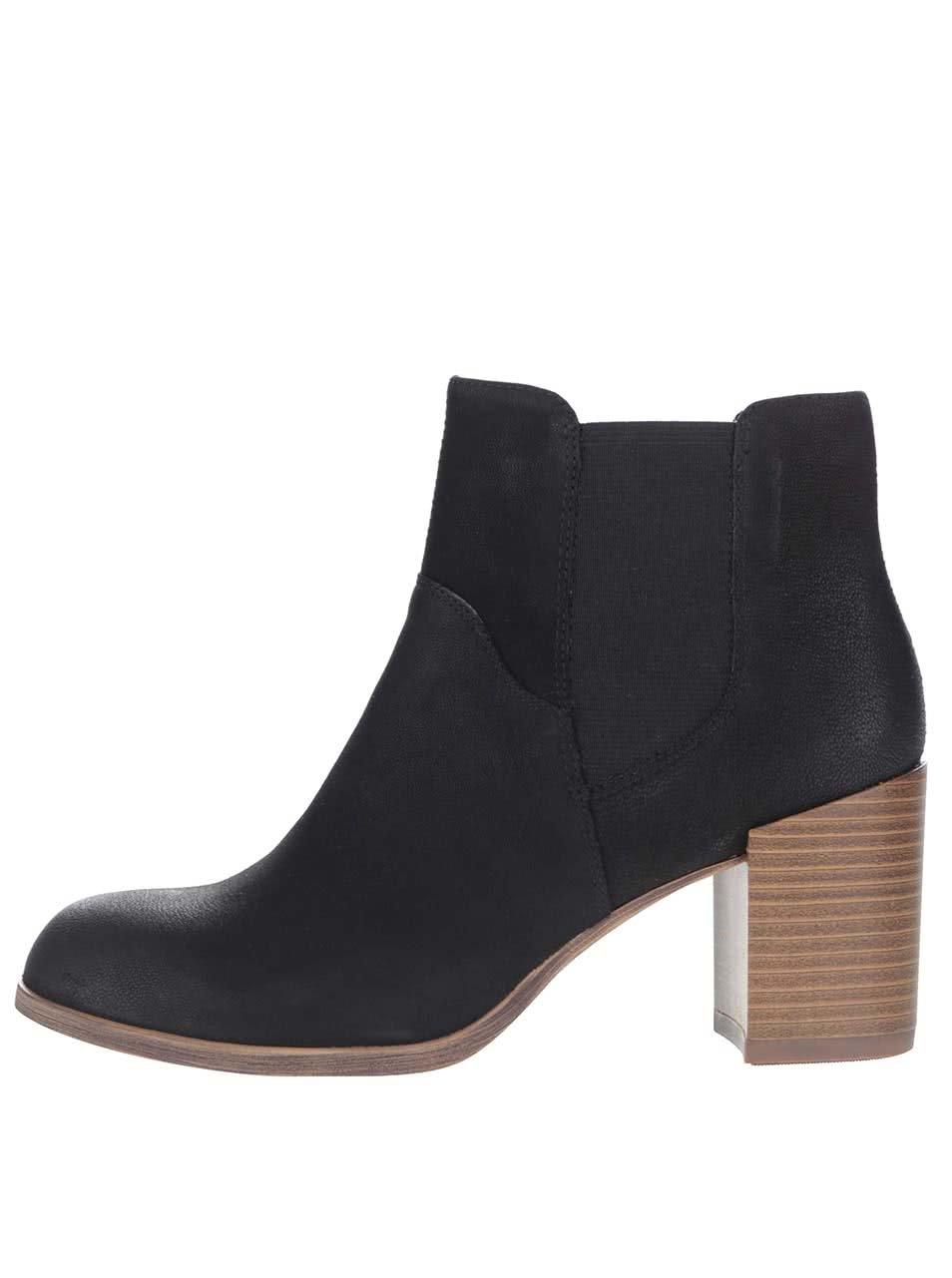 Černé kožené chelsea boty na podpatku Vagabond Anna