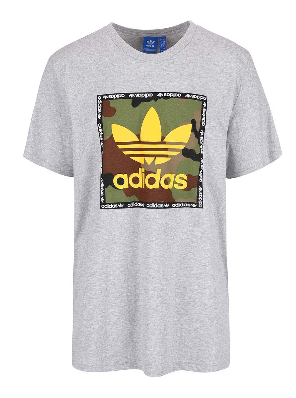 Šedé pánské triko s potiskem adidas Originals Camo