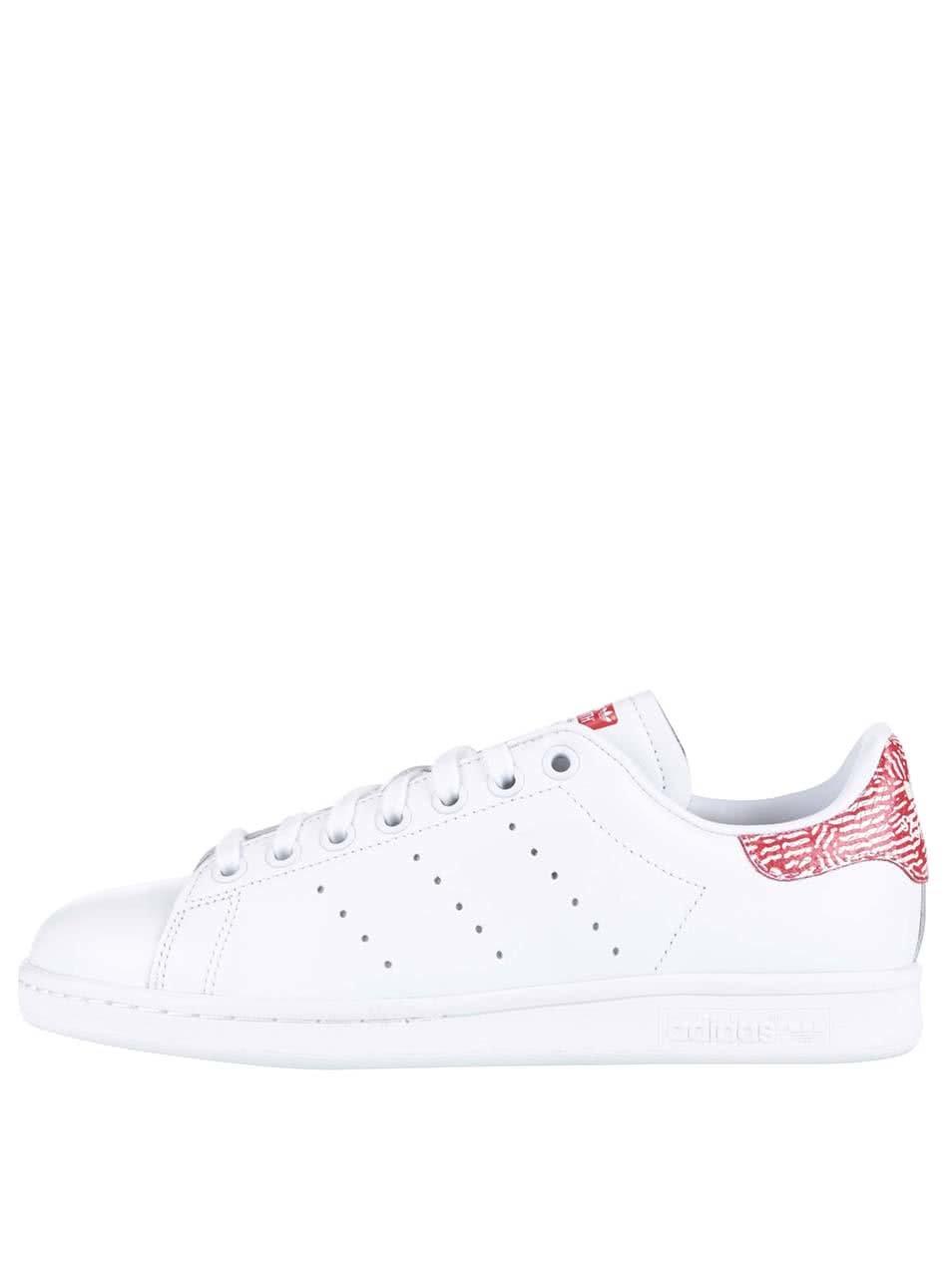 Bílé dámské kožené tenisky s červenými detaily adidas Originals Stan Smith