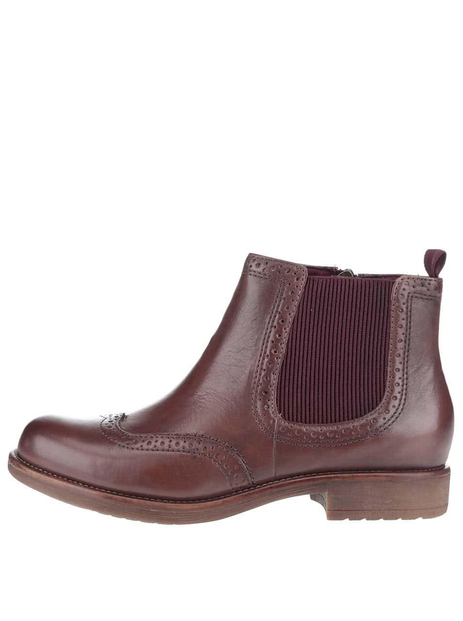 Vínovo-hnědé kožené chelsea boty Tamaris