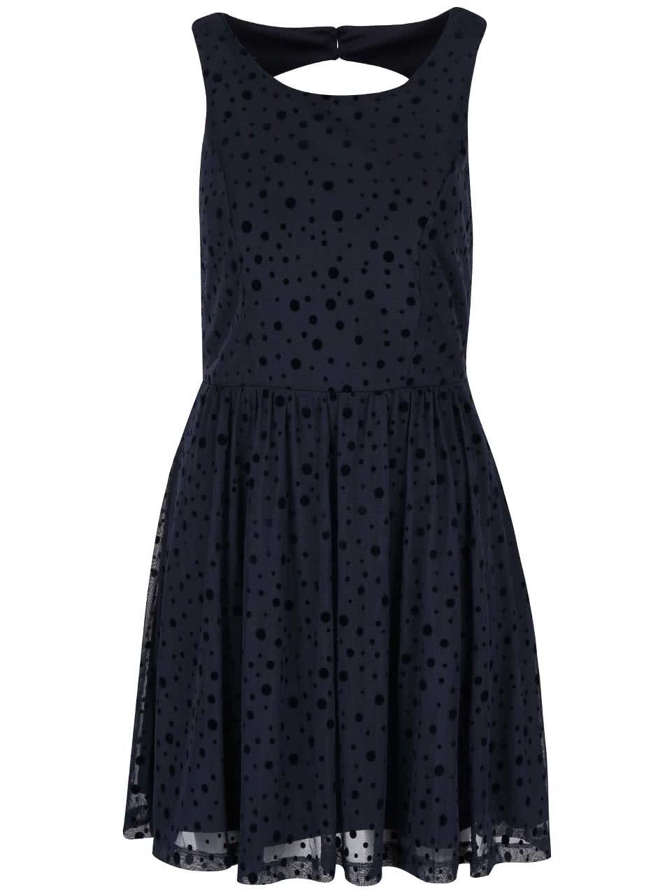 Tmavě modré šaty s puntíky ONLY Lajka