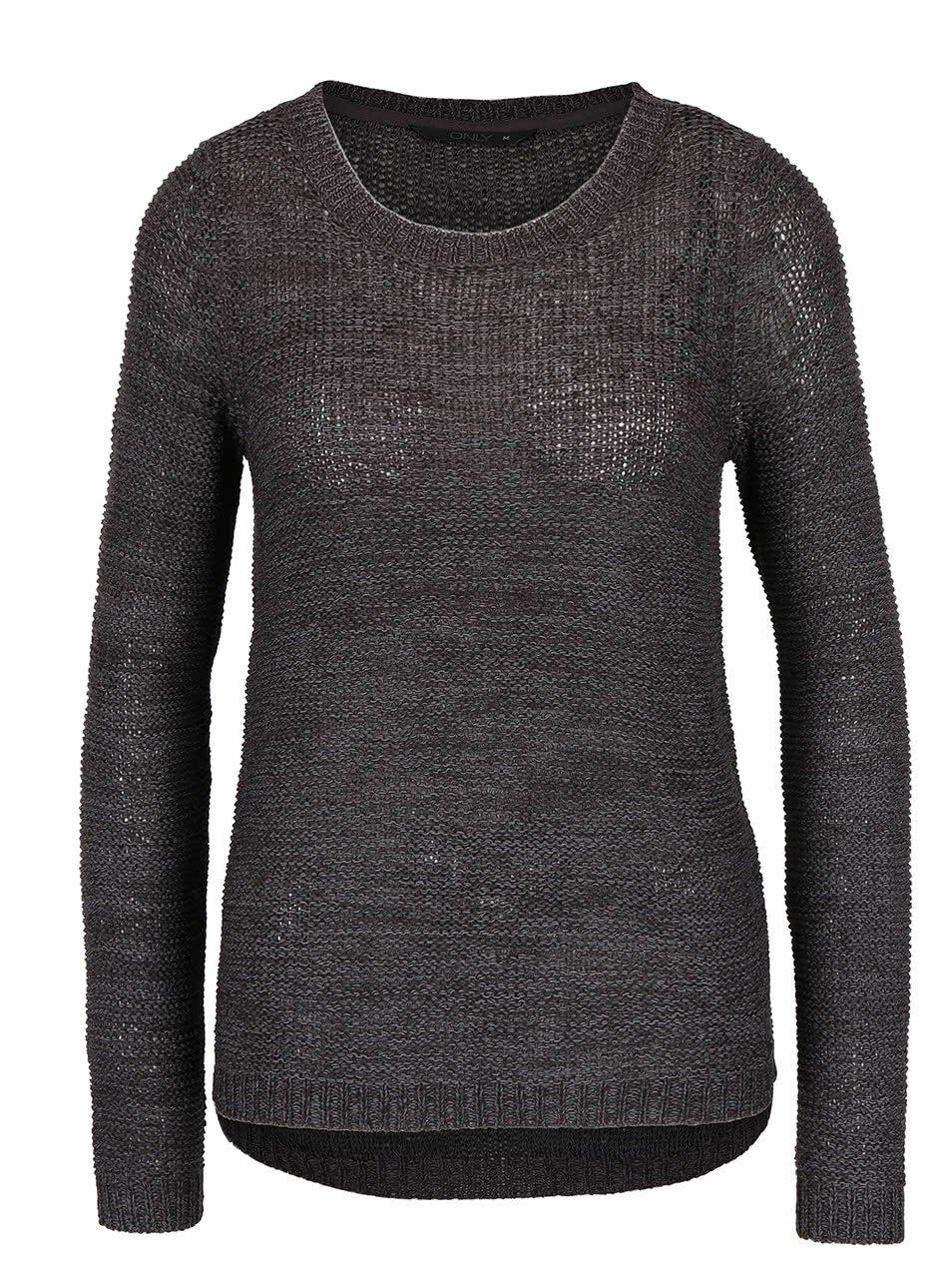 Tmavě šedý žíhaný pletený svetr ONLY Geena