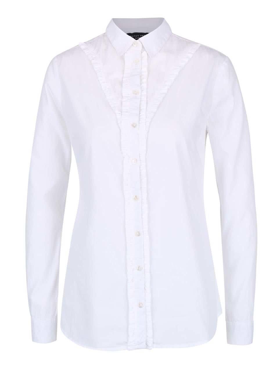 Bílá košile se zřaseným lemováním Dorothy Perkins