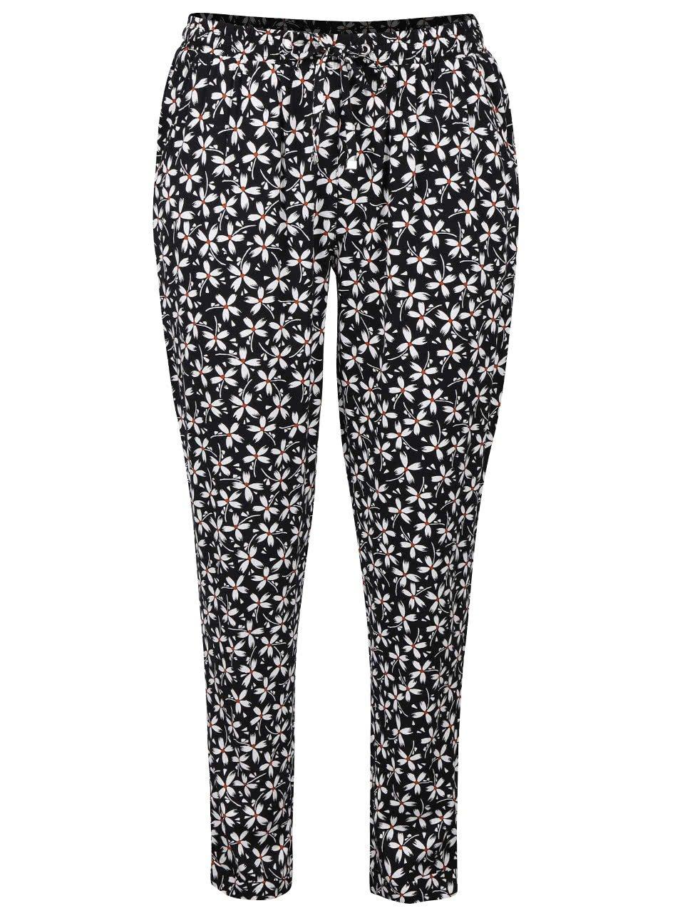 Bílo-černé volné kalhoty s květovaným motivem Dorothy Perkins