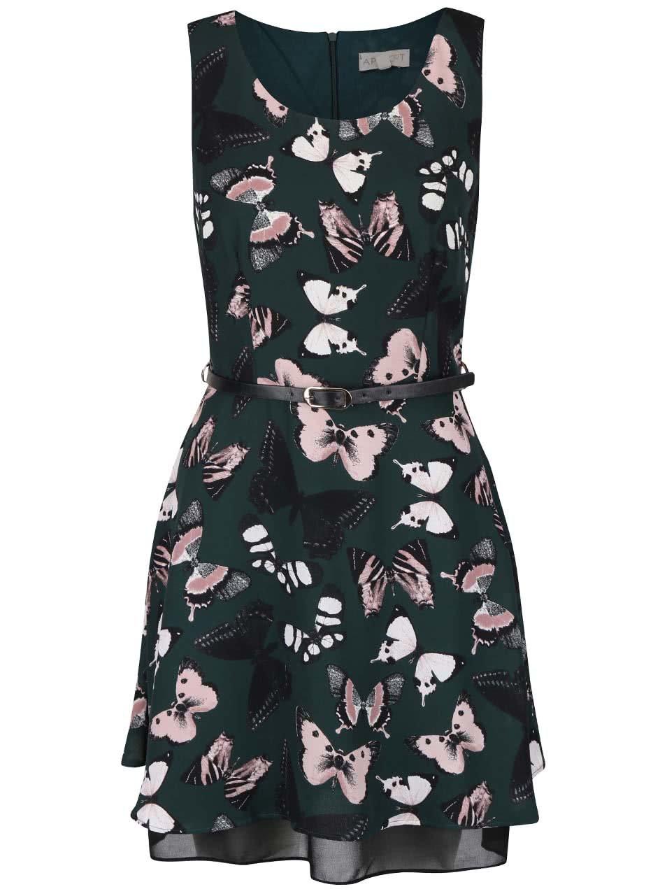 Tmavě zelené šaty s potiskem motýlů Apricot