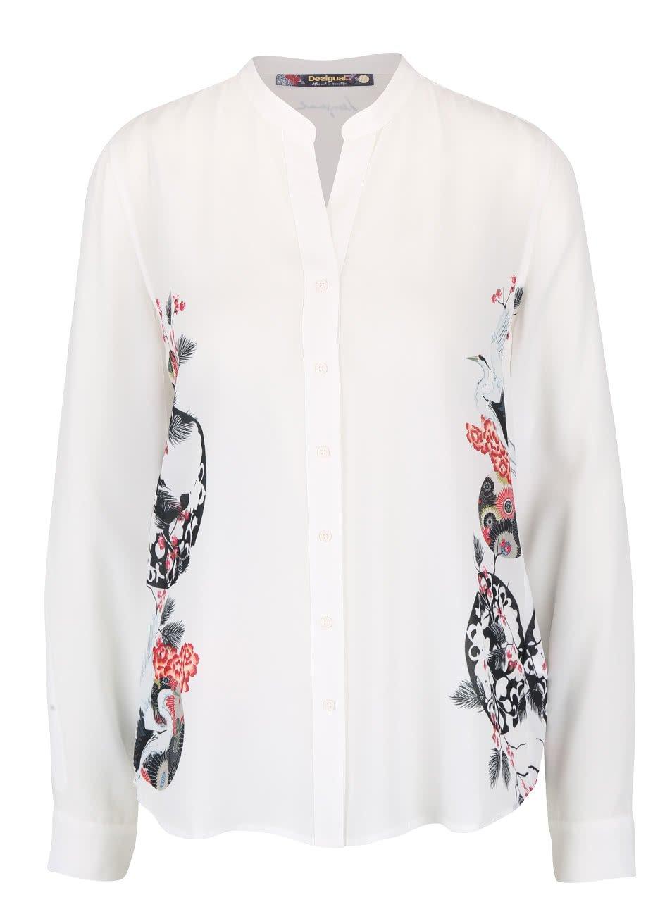 Krémová košile s květinovým potiskem Desigual Eva