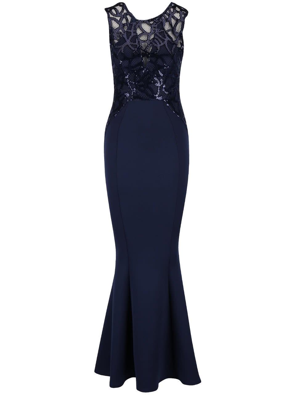 Tmavě modré dlouhé šaty s flitrovaným topem Lipsy