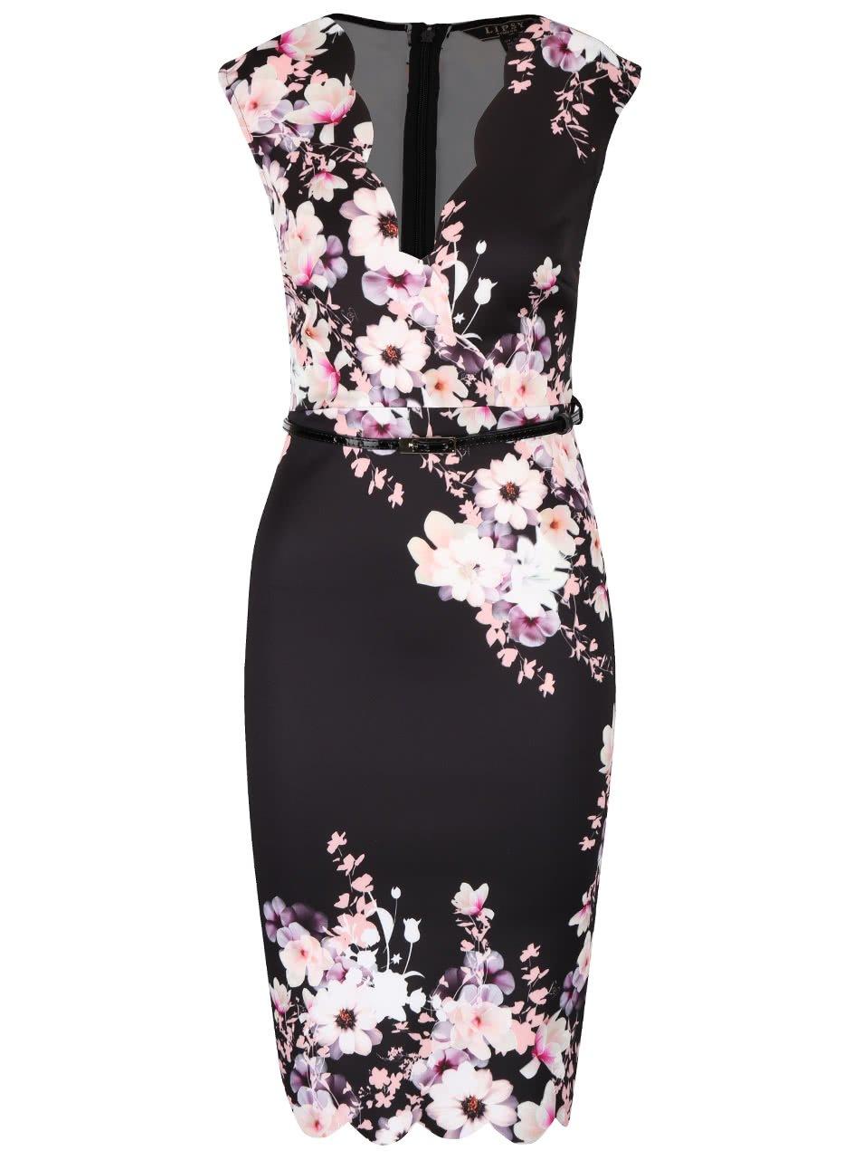Černé šaty s květinovým vzorem Lipsy